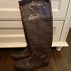 dark brown Tory Burch riding boots